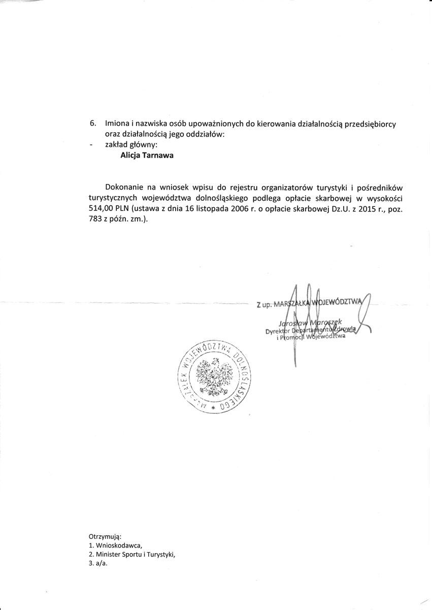 Biuro Podróży Alitravel Legnica zaświadczenie