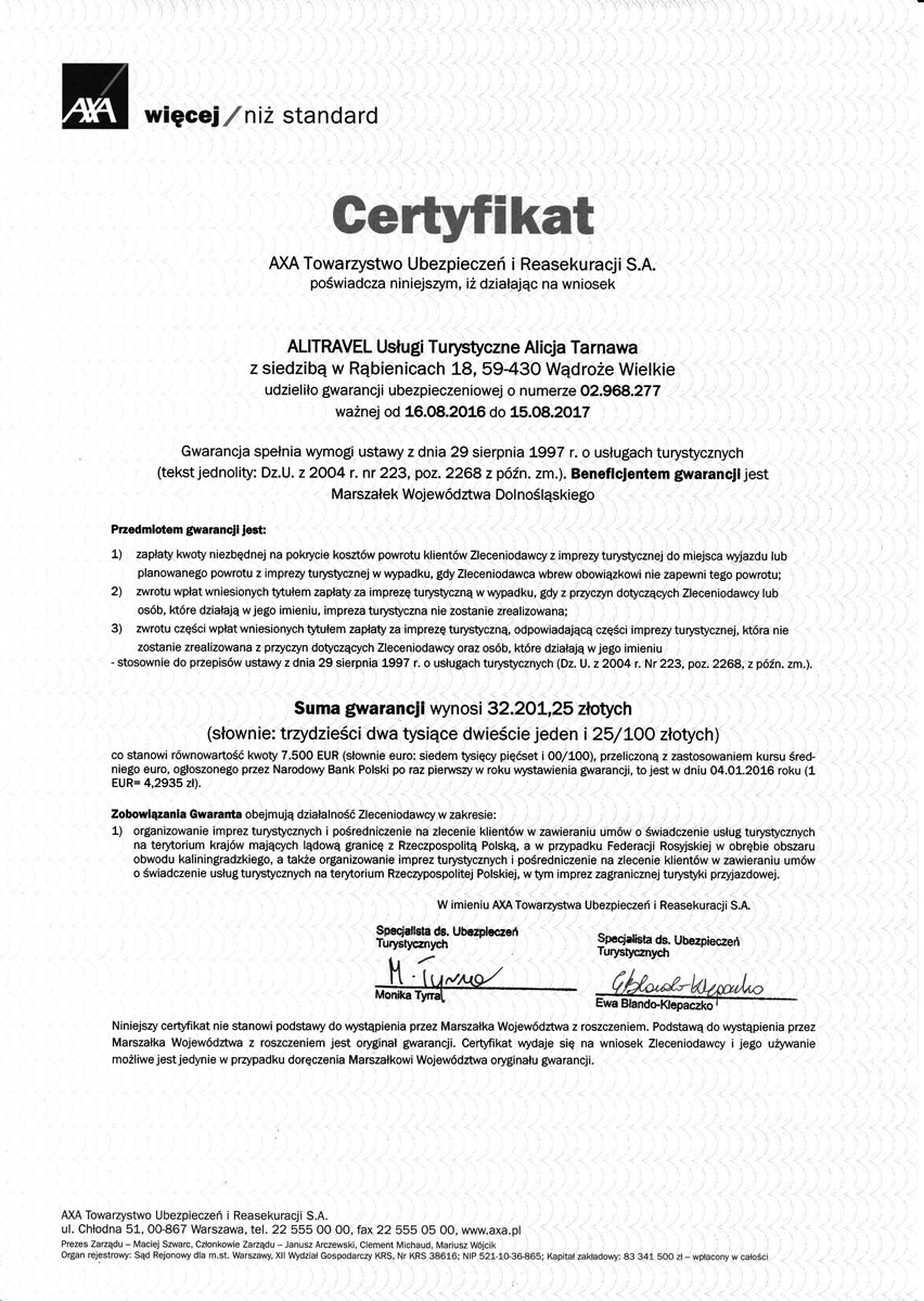 Alitravel Biuro Podróży Legnica certyfikat AXA